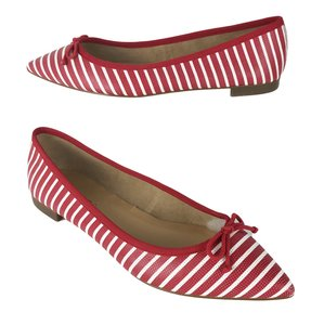Talbots Stripes Bow Leather Ballet Red White Flats