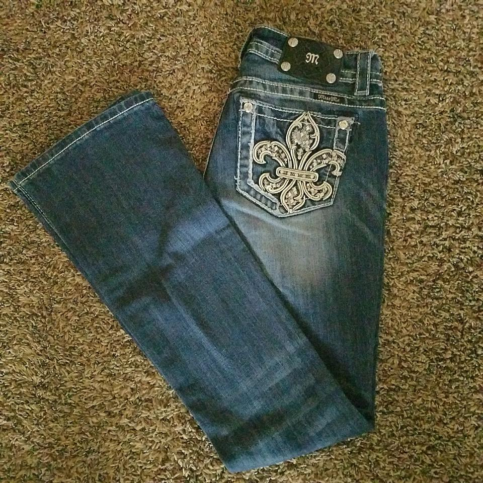 b3b72bf0aad53a Miss Me Embroidered Misses Date Night Night Out Boot Cut Jeans-Medium Wash  Image 0 ...