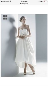 3461ec354cce Oleg Cassini White Poly High/Low Casual Wedding Dress Size 4 (S)
