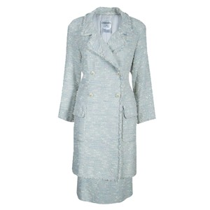 Chanel Chanel Blue Tweed Skirt Suit L