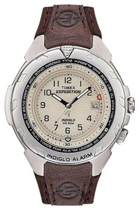 Timex Timex Brown Leather Strap Expedition T47902 Easy Set Alarm Watch