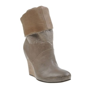 Vic Matié Leather Wool Round Toe Wedge Boots