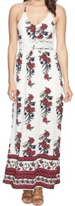 Ivory Maxi Dress by Romeo & Juliet Couture V-neck Adjustable Back Lace Overlay Floral Design Lined
