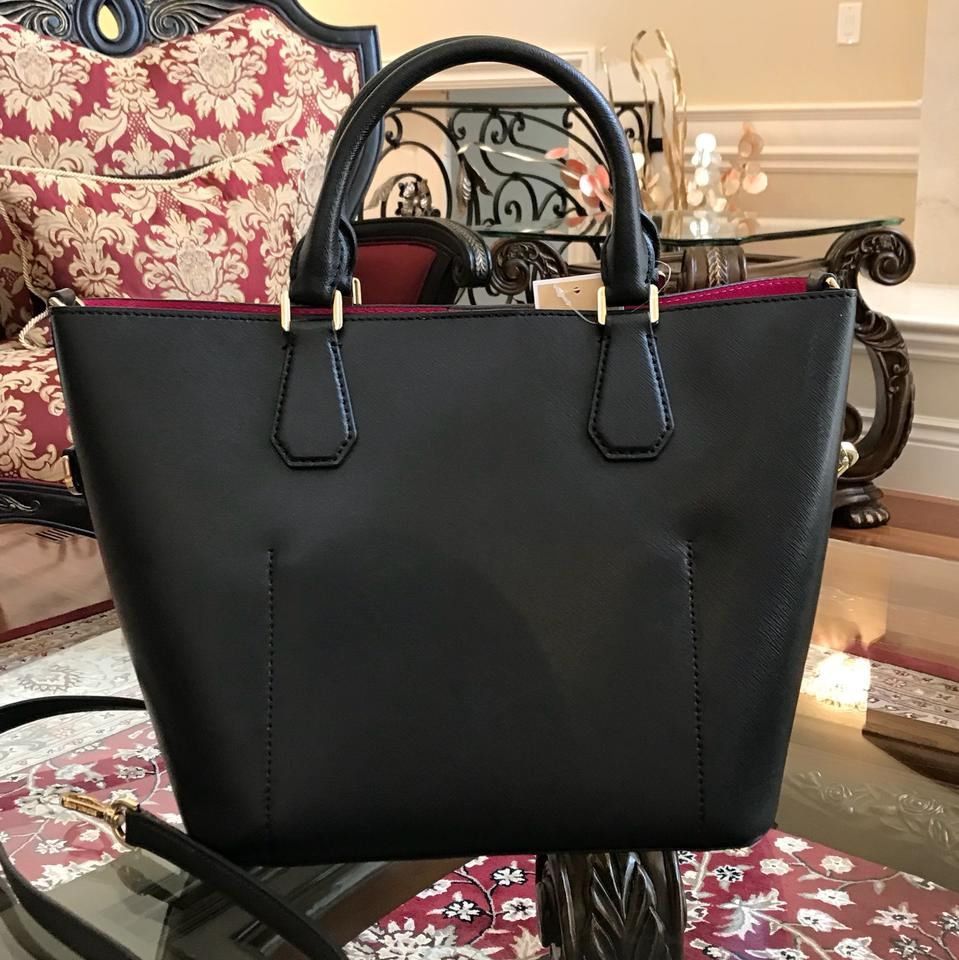 f38f7b2fde38 Michael Kors Greenwich Grab Leather Satchel in BLK/RSPBERRY Image 8.  123456789