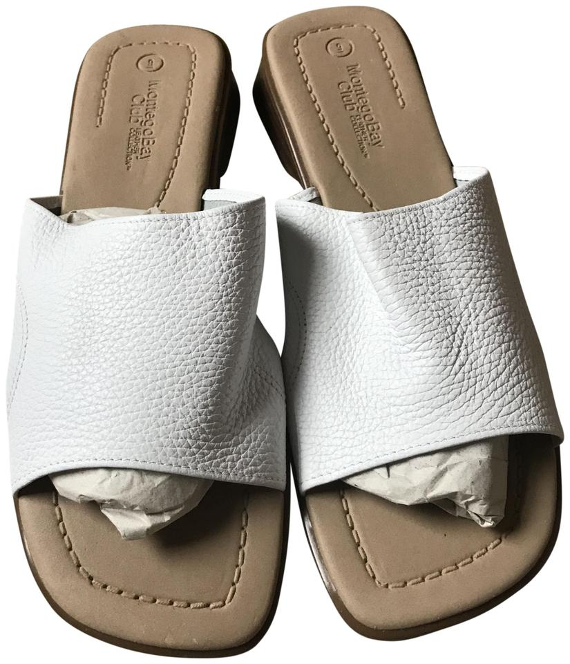 59427571f Montego Bay Club New Without Tags Pebbled Leather Slip-on Style White  Sandals Image 0 ...