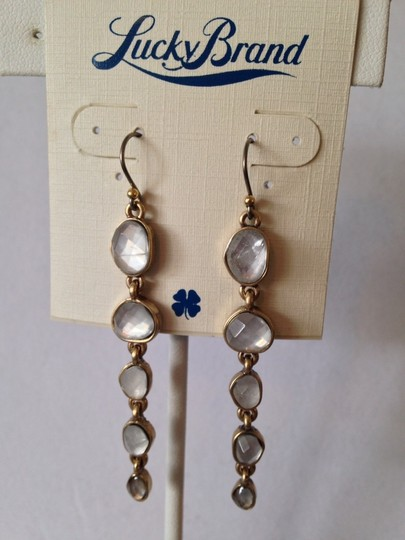 Lucky Brand NWOT Organic Stone Gold-Tone Drop Earrings Image 1