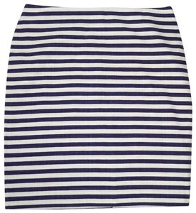 Talbots Striped Nautical Cotton Unlined Skirt Navy/white
