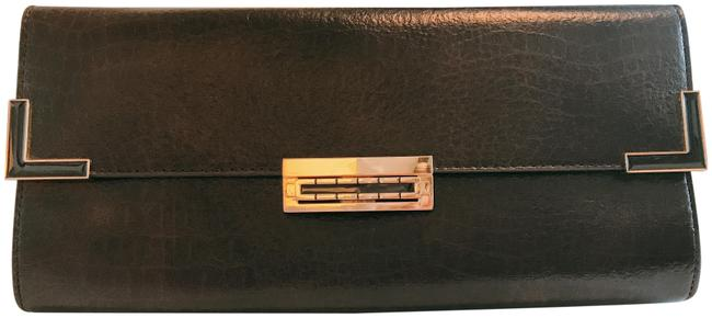 Mango Mng By Dark Brown Faux Leather Clutch Mango Mng By Dark Brown Faux Leather Clutch Image 1