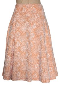 Robert Rodriguez Embroidered A-line Knee Length Skirt peach