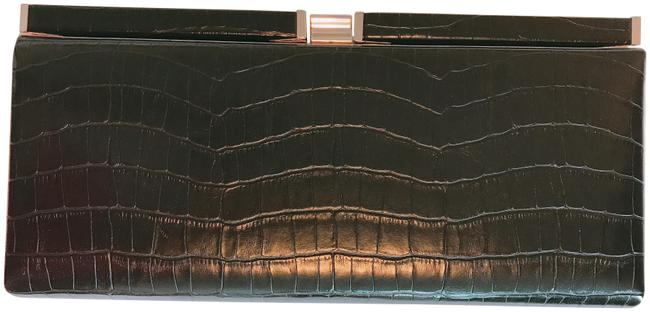 Crocodile Black Faux Leather Clutch Crocodile Black Faux Leather Clutch Image 1