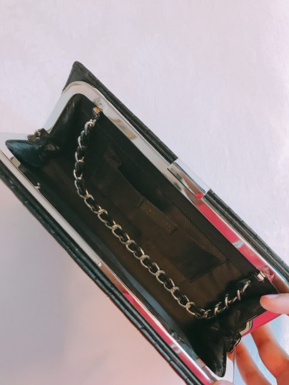 Sasha Quilted Silver Hardware Black Clutch