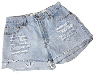 Levi's High Waisted Distressed Vintage 90s Mom Jeans Cut Off Shorts Blue