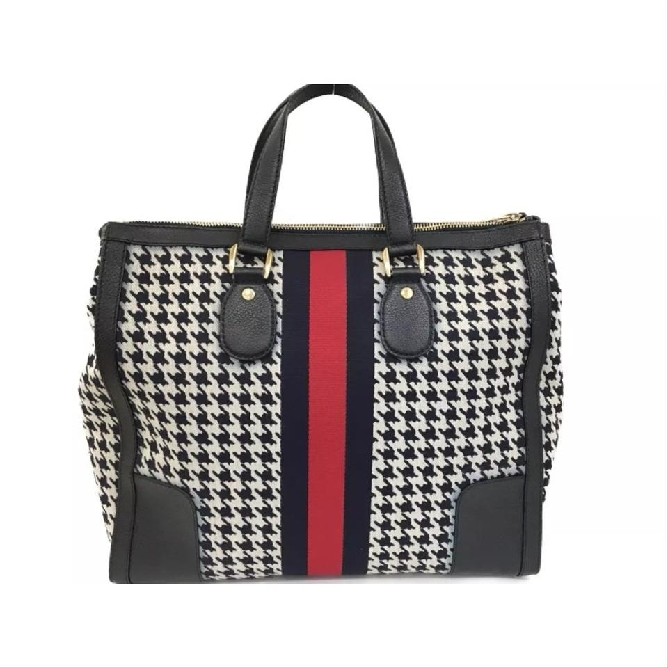 f0e2d0da124 Gucci Seventies Houndstooth Tote Navy Blue Canvas and Leather ...