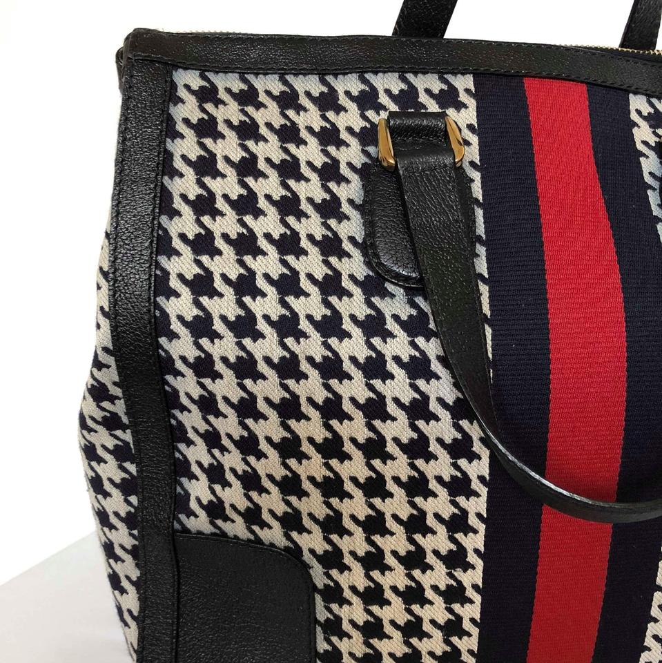 8536cbe305d Gucci Seventies Houndstooth Tote Navy Blue Canvas and Leather ...