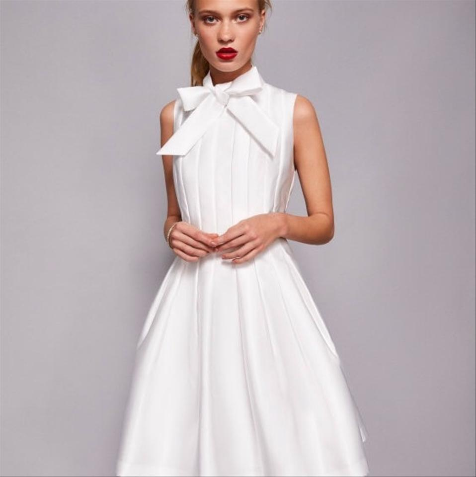 Ted Baker White Polyester Doora Bow Neck Tie Retro Wedding Dress Size 6 S