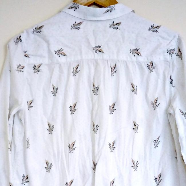 Paul Smith Designer London England Leaves Button Down Shirt white