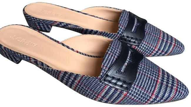 Item - Navy Red Gray Wool Tweed Loafer Mules/Slides Size US 8 Regular (M, B)