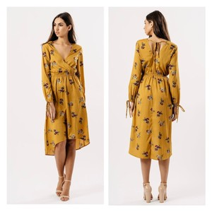 mustard floral Maxi Dress by ASOS
