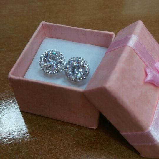 Other 4 Carat Round Cut Halo Stud Solid 925 Sterling Silver Earrings
