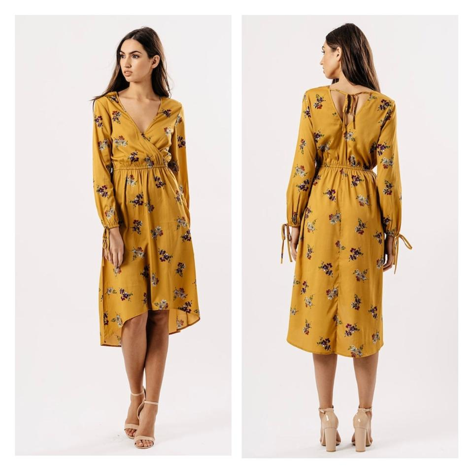 cba7440f9d59 ASOS Mustard Floral Print Wrap Style Front Midi Long Casual Maxi ...