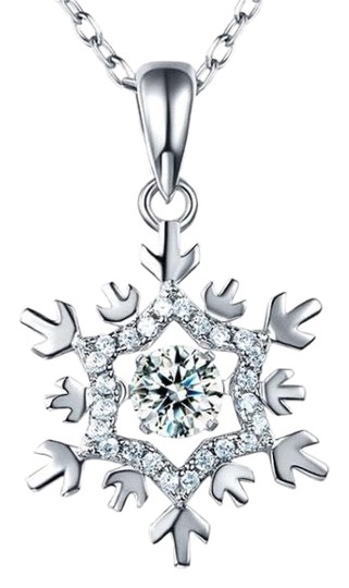 Preload https://img-static.tradesy.com/item/23350885/silver-dancing-stone-snowflake-pendant-solid-925-sterling-necklace-0-1-540-540.jpg
