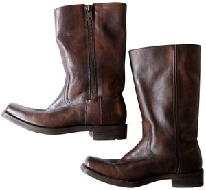 Frye Leather Leather Upper Motorcycle Maple Heath Brown Boots