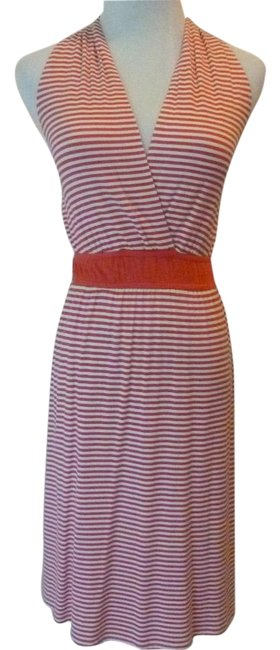 Item - Red/White Striped Halter Summer Mid-length Short Casual Dress Size 4 (S)