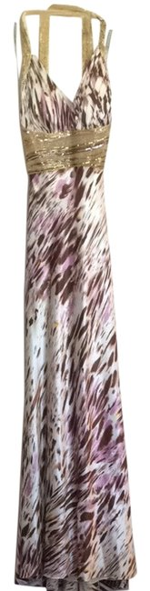 Item - Cream Purple Brown Long Formal Dress Size 8 (M)