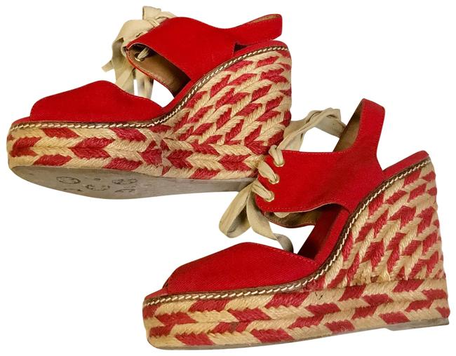 Tory Burch Price Reduced / Red Linley Wedges Size US 7 Regular (M, B) Tory Burch Price Reduced / Red Linley Wedges Size US 7 Regular (M, B) Image 1
