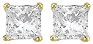 0.45carat Princess Cut Diamond Stud Earrings , IGI Certified, Yellow Gold, Elegant Stud, 0.45 Carats, 14k Gold