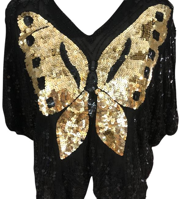 Preload https://img-static.tradesy.com/item/23351119/black-and-gold-vintage-butterfly-sequined-blouse-size-8-m-0-1-650-650.jpg