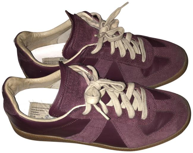 Item - Burgundy Low Top Sude and Leather Sneakers Size EU 37 (Approx. US 7) Regular (M, B)