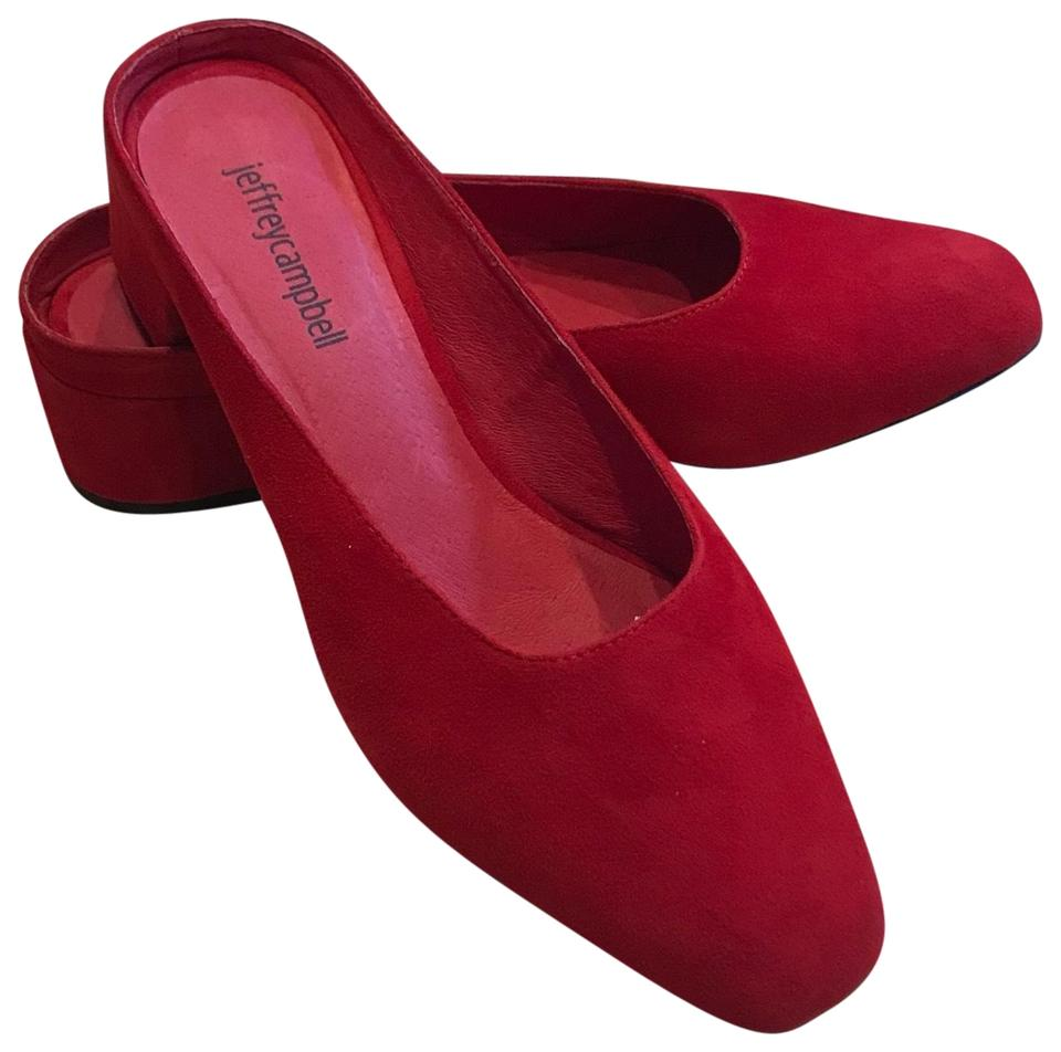 womens Jeffrey A Campbell Red Suede Mules/Slides A Jeffrey balance between toughness and hardness 0e1aa5