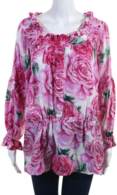 Item - Flower White Silk Floral Print Long Sleeve New Msrp Blouse Size 8 (M)