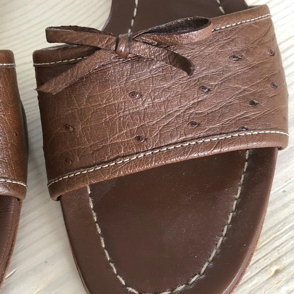 Leather Sandals Brown Sandal Ostrich Slide Prada PY5fqxgwx