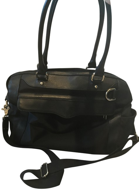 Item - Knocked Black Nylon with Leather Trim Diaper Bag