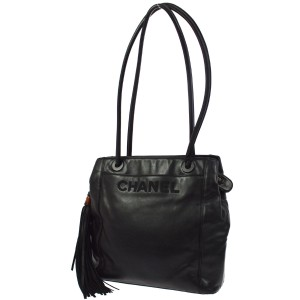 Chanel Vintage Leather Luxury European Limited Edition Tote in black