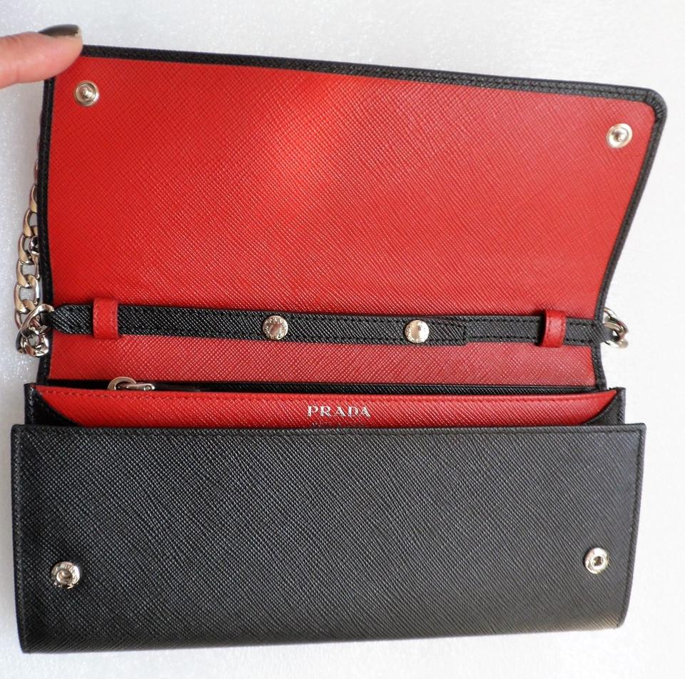 34b11c00ce04 Prada Wallet on Chain Bicolor Wallet-on-a-chain (Nero/Fuoco) Woc ...