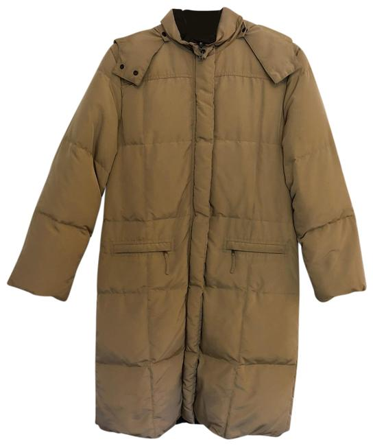 Item - Tan and Dark Brown Down Coat Size 12 (L)