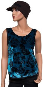 Winter Kate Velvet Rose Floral Top Multi-color