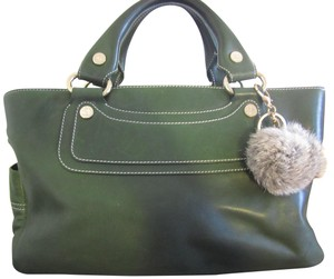 Céline Boogie Leather Leather Tote in green