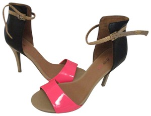 JustFab Hot Pink Taupe Ankle Strap Braided Patent Black Pumps