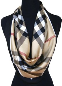 Burberry Authentic Burberry Prorsum Classic Check Beige Black 100% Silk Scarf