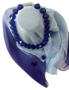 Vintage SALE...Vintage French Cobalt Blue Faceted Beaded Necklace, Earring and Scarf Set from High Quality Lucite