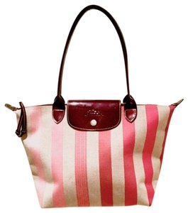 Longchamp Tote in Pink stripe