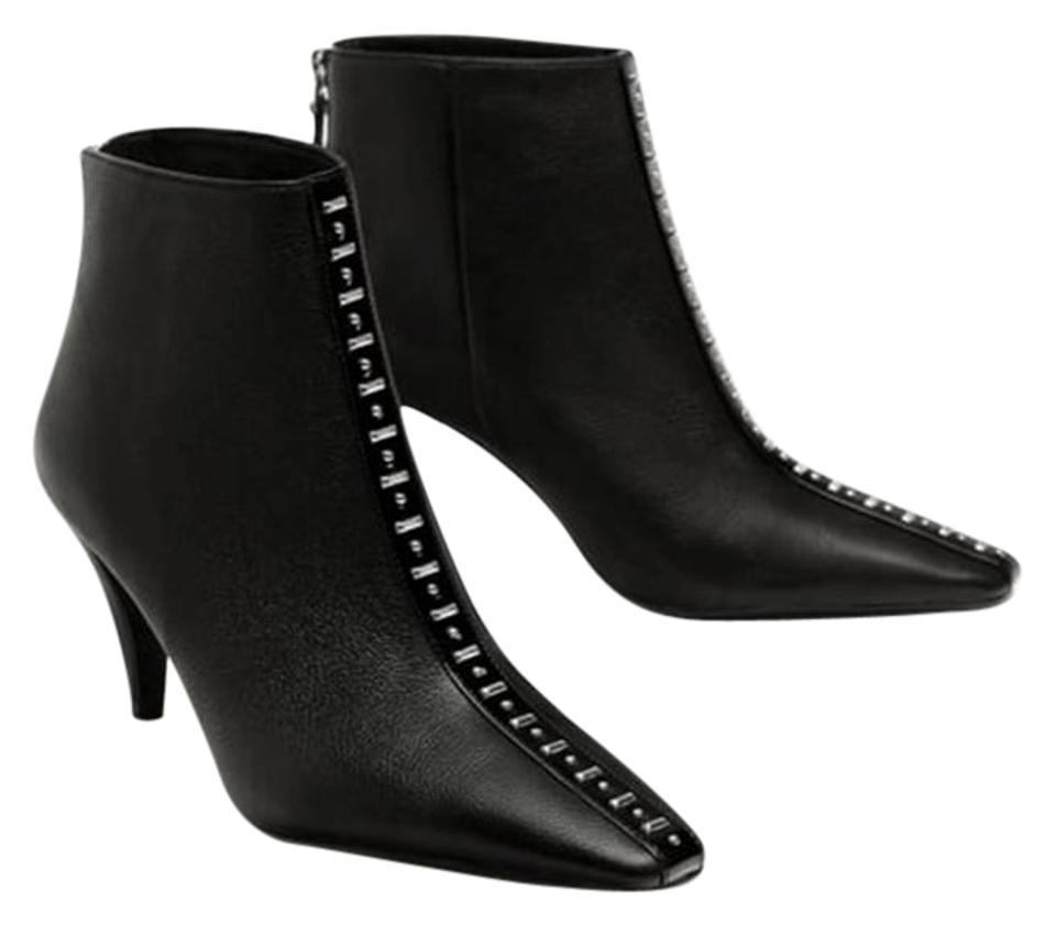 8abf4ac38f0 Zara Black High Heel Leather with Studs New Ankle Boots/Booties Size US 7.5  Regular (M, B)