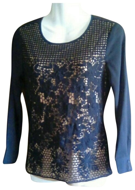 Item - Black Lace Overlay Blouse Size 4 (S)