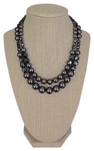 Nordstrom Black Synthetic Pearl and Hematite Beaded Necklace