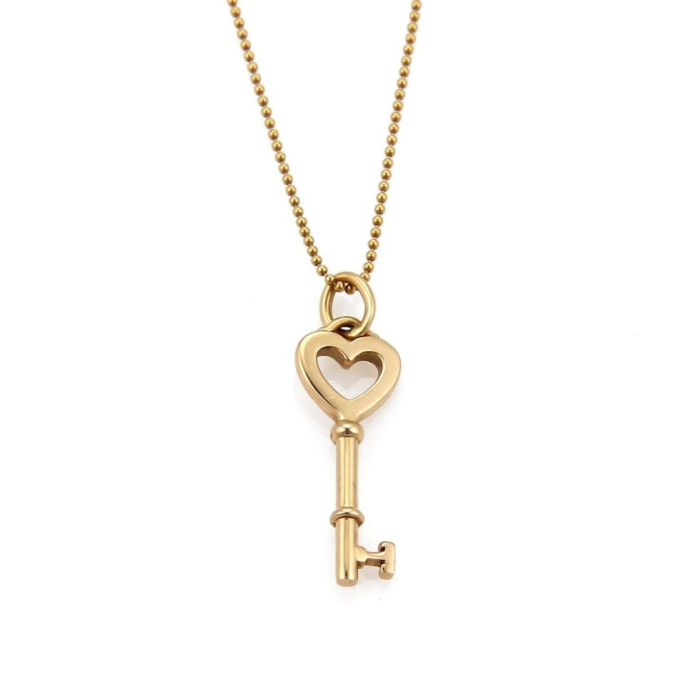 3cebcff96 Tiffany & Co. Heart Key Pendant & Bead Chain in 18k Rose Gold Image 0 ...