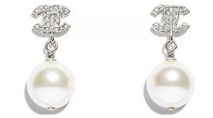 Chanel New Cc Pearl Drop Silver Crystal Earrings